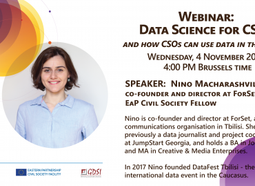 WEBINAR: Data Science for CSOs or How CSOs can use data in their work / 4 November 2020