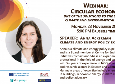 Circular economy: one of the solutions to the current climate and environmental crises? – Join the webinar on 23 November!