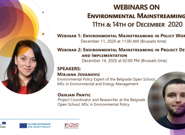 Webinars on Environmental Mainstreaming, December 11-14, 2020