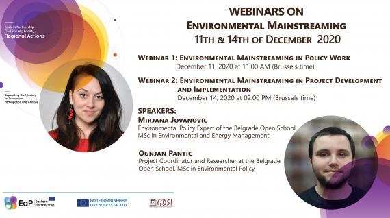 Webinars on Environmental Mainstreaming, December 11-14, 2020